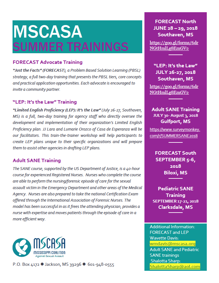 MSCASA Summer Training